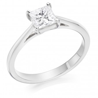 Platinum Massima princess cut solitaire ring 0.70cts