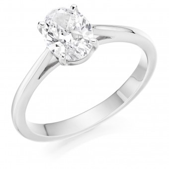 Platinum Massima oval cut solitaire ring 0.90cts