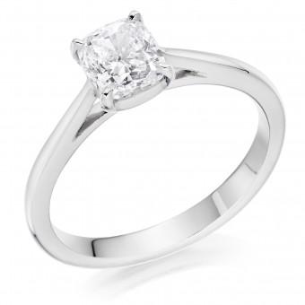 Platinum Massima cushion cut solitaire diamond ring 0.94cts