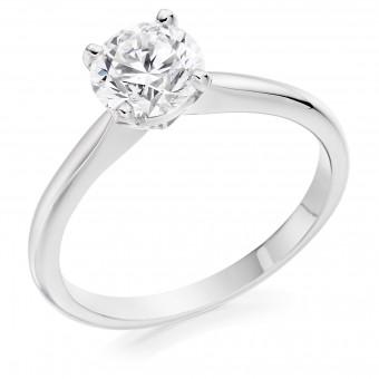 Platinum Lia round cut diamond solitaire ring 0.90cts