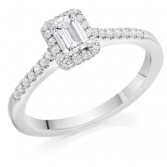 Platinum Pianeti emerald cut diamond halo ring, diamond shoulders 0.63cts