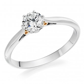 Platinum & blush gold Serafina round cut diamond solitaire ring 0.51cts