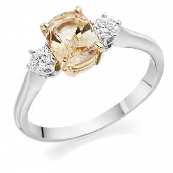 Platinum & 18ct rose gold cushion shape natural peach colour sapphire & diamond three stone ring