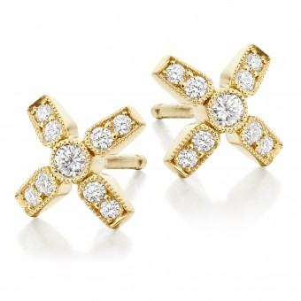 18ct carat yellow gold Amalia diamond set kiss stud earrings