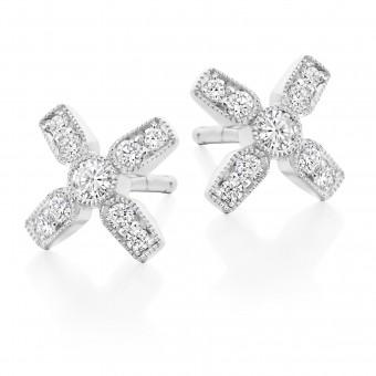 18ct carat white gold Amalia diamond set kiss stud earrings