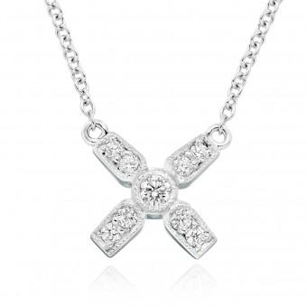 18ct white gold Amalia diamond set kiss pendant