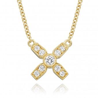18ct yellow gold Amalia diamond set kiss pendant