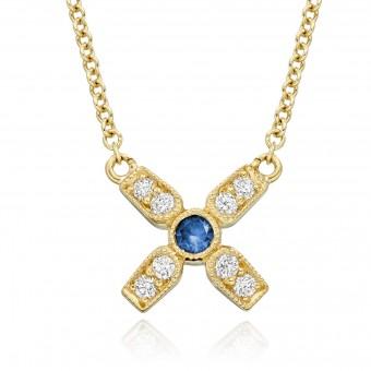 18ct yellow gold Amalia diamond and sapphire set kiss pendant