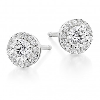 18ct white gold Pianeti round cut diamond earrings