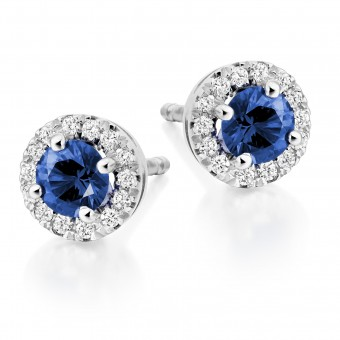 18ct white gold Pianeti round cut diamond & sapphire earrings