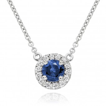18ct white gold Pianeti round cut sapphire and diamond pendant