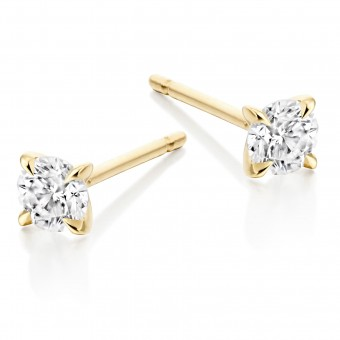 Eighteen carat yellow gold Natalia round cut diamond earrings 0.53cts