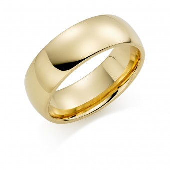 18ct yellow gold 7mm Oxford wedding ring