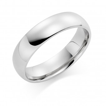 Platinum 6mm Oxford wedding ring