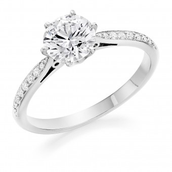 Platinum Serafina round cut diamond solitaire ring, diamond shoulders 1.19cts
