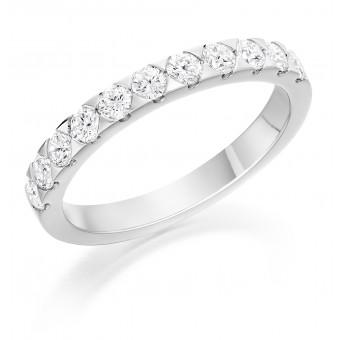 Platinum Pyramids round cut diamond half eternity ring 0.63cts