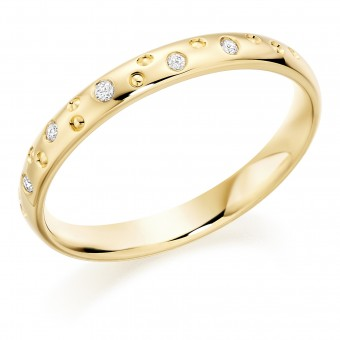 18ct yellow gold 2.5mm  Celestial design diamond set court  wedding ring.