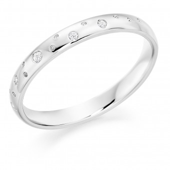 Platinum 2.5mm  Celestial design diamond set court  wedding ring.