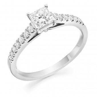 Platinum Nuovo Duplice princess cut diamond solitaire ring, diamond shoulders 0.72cts