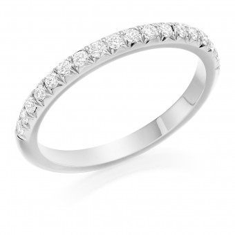 Platinum 2mm Oxford micro set diamond wedding ring 0.28cts