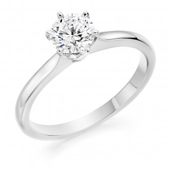 Platinum Vittoria round cut diamond solitaire ring 0.73cts