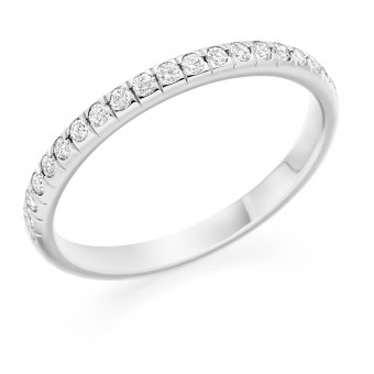 Platinum 2mm Oxford split set diamond wedding ring 0.21cts