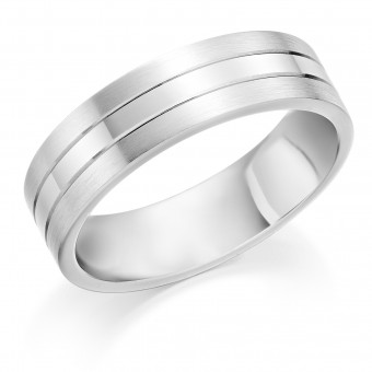 Platinum 6mm Lightning wedding ring