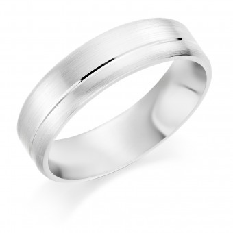 Platinum brushed finish 6mm Saturn wedding ring.