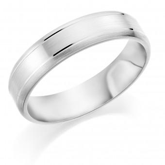 Platinum 5mm brushed finish Latitude wedding ring