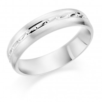 Platinum brushed finish 5mm Kinetic wedding ring.