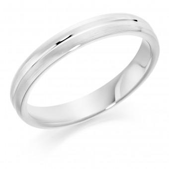 Platinum Ysabelle 3mm court style brushed wedding ring