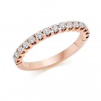18ct rose gold Sabrina round cut diamond true half eternity ring 0.45cts