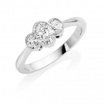 Platinum Giuditta oval cut diamond three stone ring 0.70cts