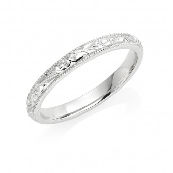 Platinum 2.5mm orange blossom wedding ring