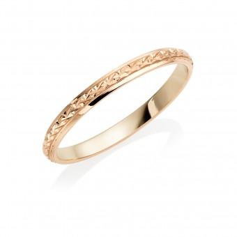 18ct rose gold 2mm North Star wedding ring