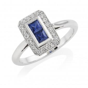 Platinum Finestra deco style Ceylon sapphire and diamond halo ring
