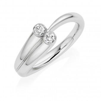 Platinum Contemporary two stone round cut diamond ring 0.17cts