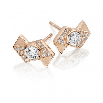 18ct rose gold diamond set Deco Fusion offset earrings 0.53cts