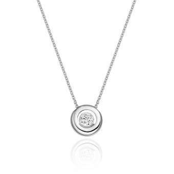 Platinum round cut diamond Celestial pendant, attached trace link chain 0.31cts