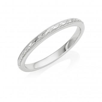 Platinum 2mm leaf twine wedding ring
