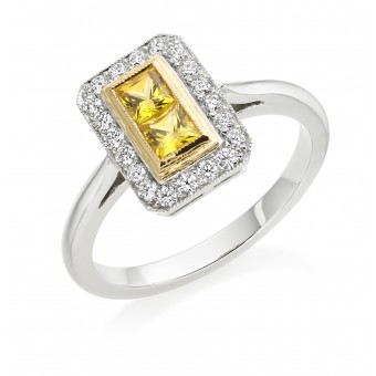 Platinum Finestra deco style yellow sapphire  and diamond halo ring