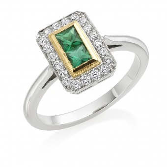 Platinum Finestra deco style emerald and diamond halo ring