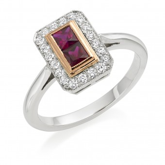 Platinum Finestra deco style ruby and diamond halo ring