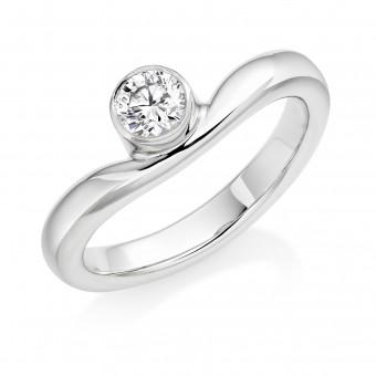 Platinum round cut diamond single band Wave ring