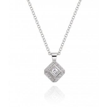 18ct white gold Finestra deco style carré & round cut diamond pendant.