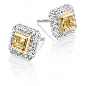 18ct white gold Finestra deco style yellow sapphire & diamond earrings.