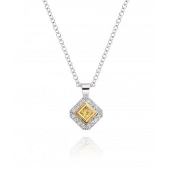 18ct white gold Finestra deco style yellow sapphire & diamond pendant.