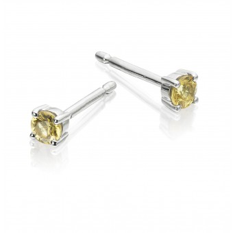 18ct white gold round yellow sapphire claw set stud earrings