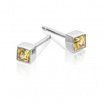 18ct white gold Esta princess cut yellow sapphire stud earrings