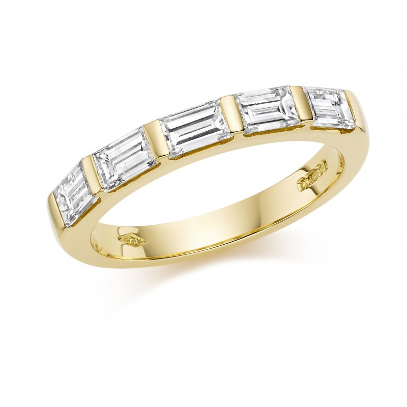 8269f36e2c4521 18ct yellow gold baguette cut diamond five stone eternity ring 1.02cts